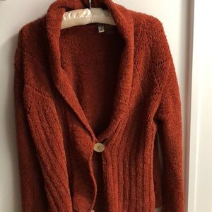 Sahalie Rust Color Cardigan with Wooden Button